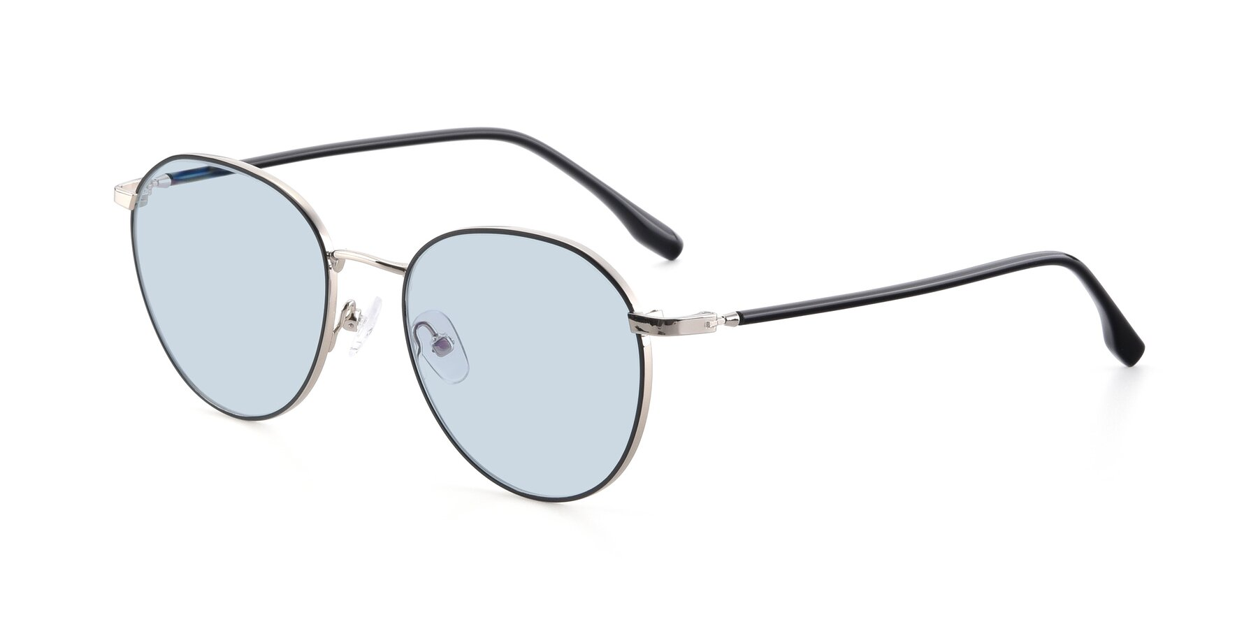 Angle of 9553 in Black-Silver with Light Blue Tinted Lenses