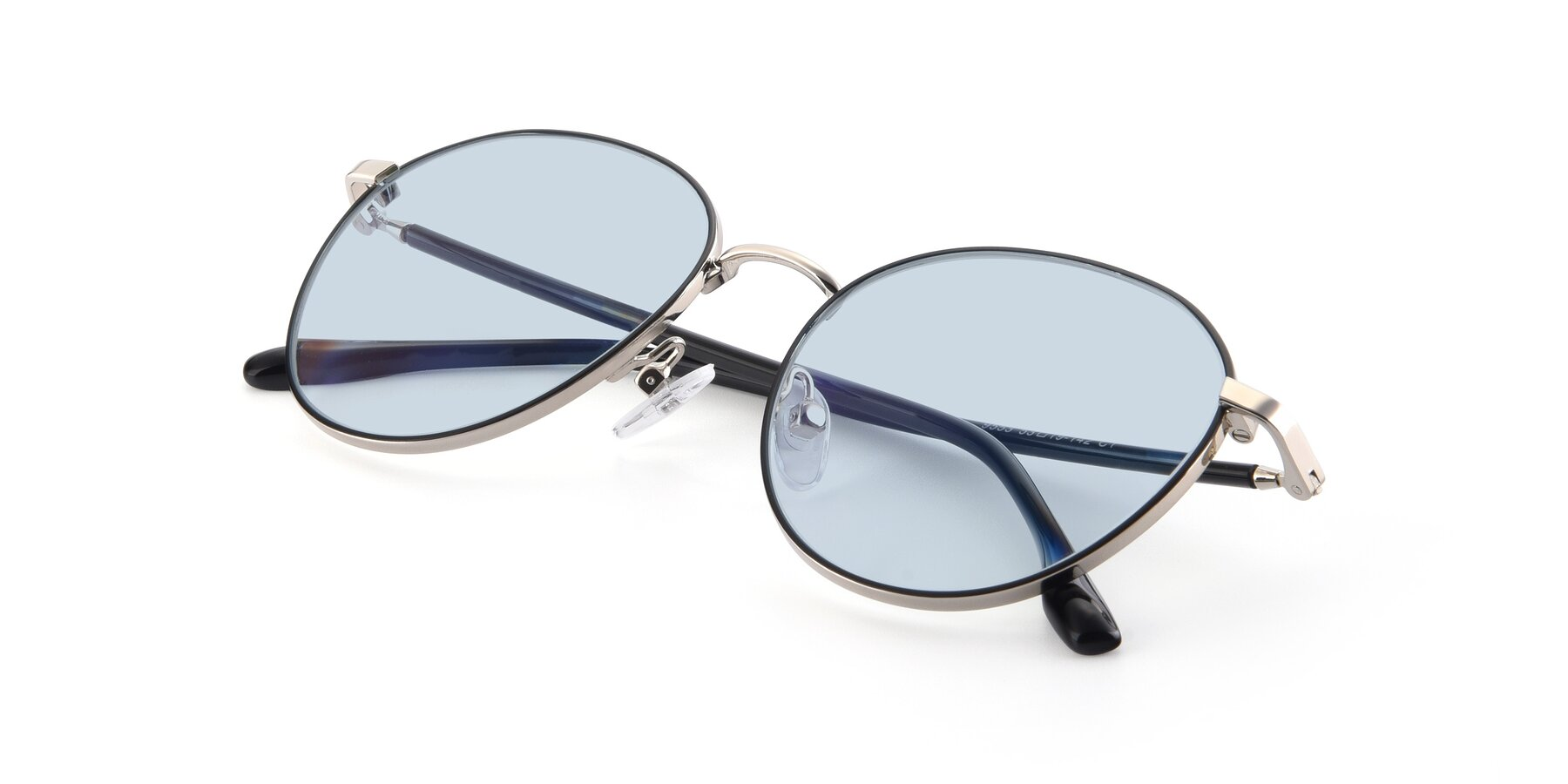 View of 9553 in Black-Silver with Light Blue Tinted Lenses