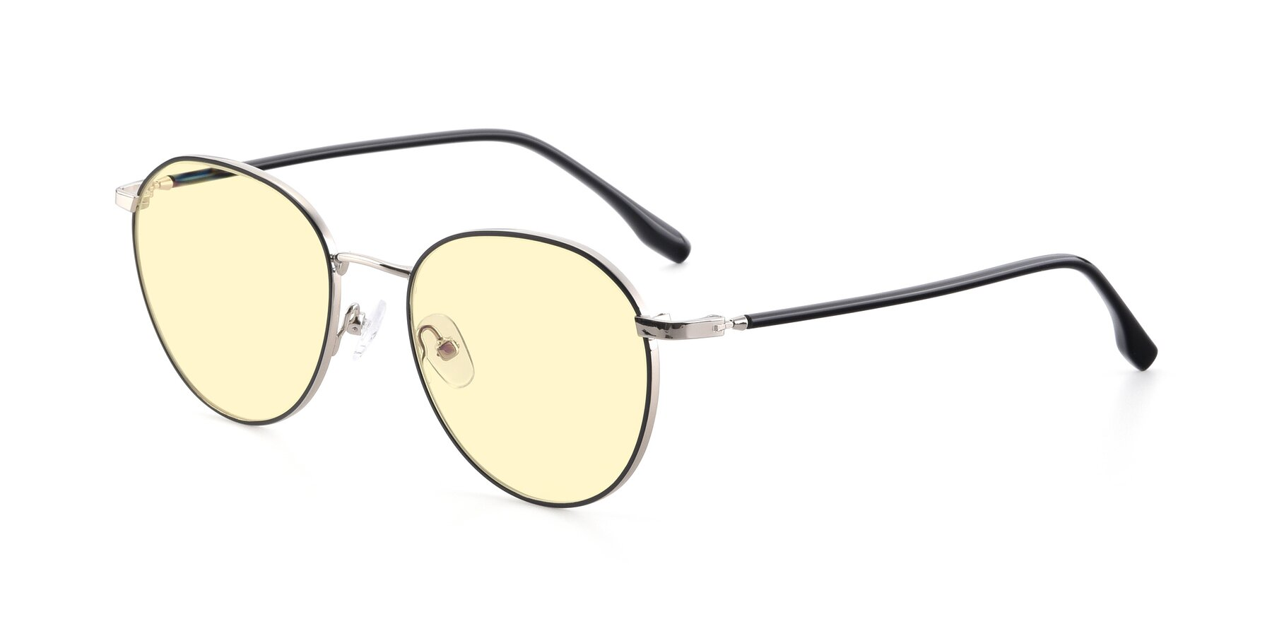 Angle of 9553 in Black-Silver with Light Yellow Tinted Lenses