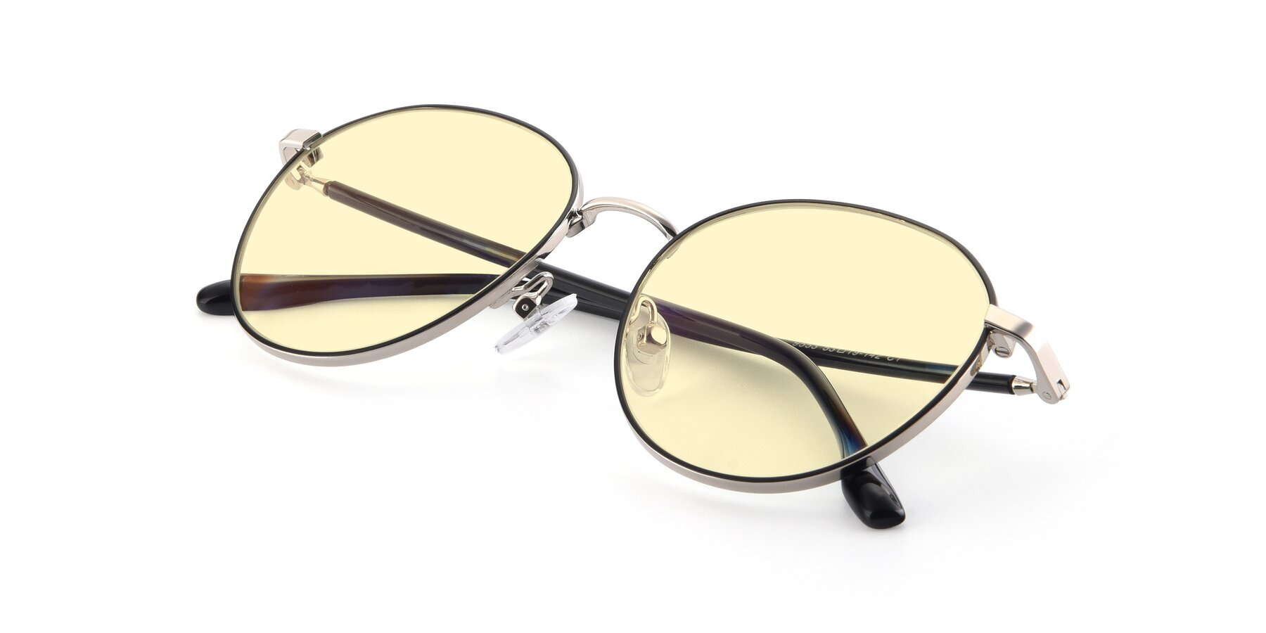 View of 9553 in Black-Silver with Light Yellow Tinted Lenses