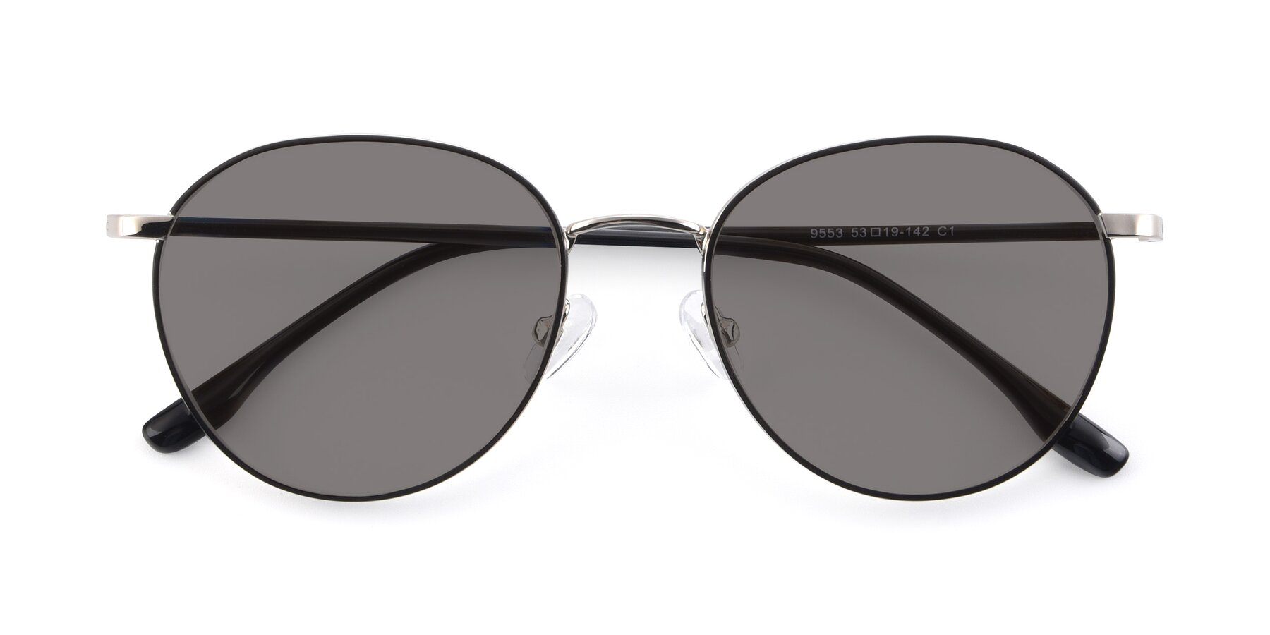 Folded Front of 9553 in Black-Silver with Medium Gray Tinted Lenses