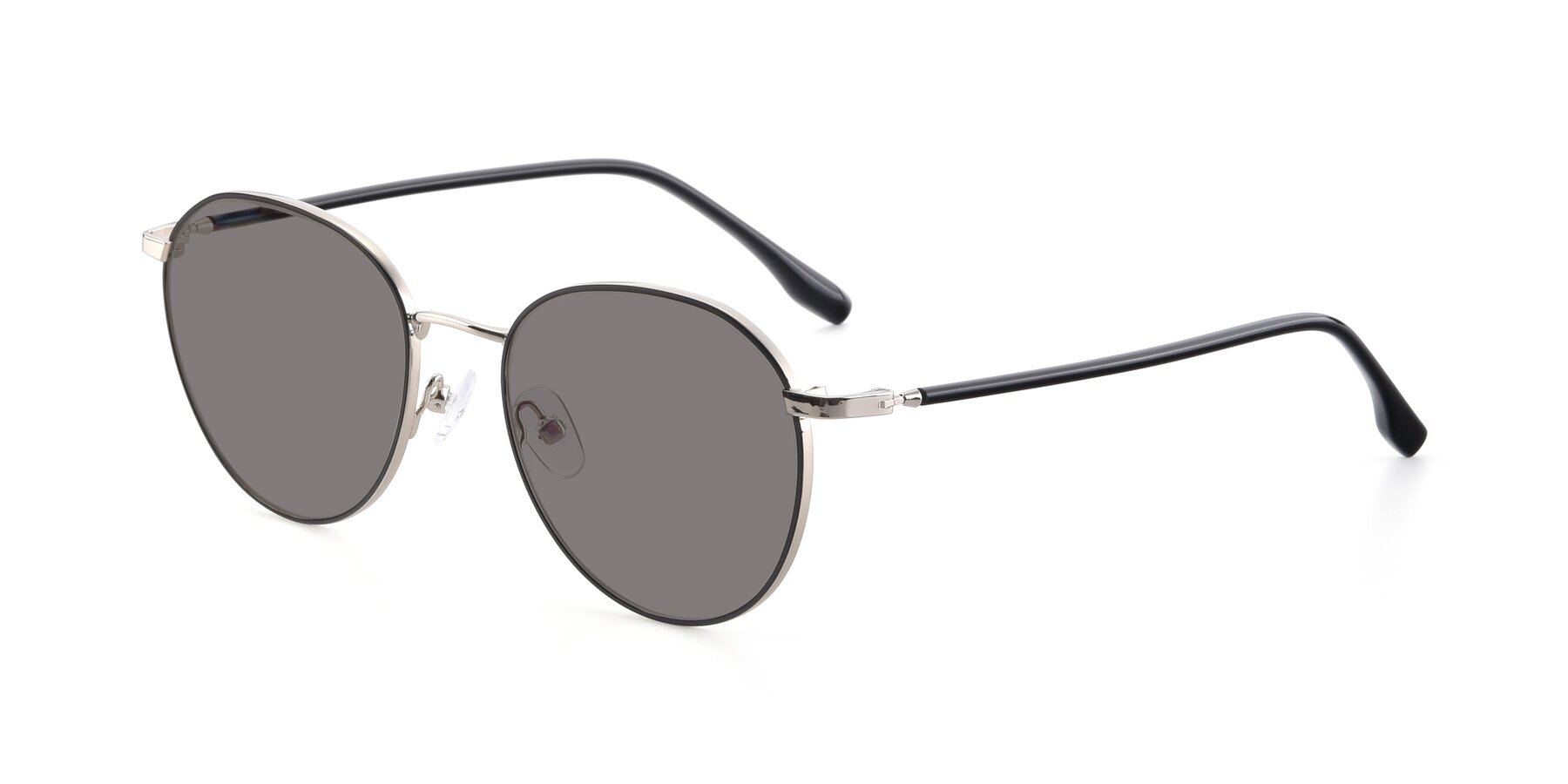 Angle of 9553 in Black-Silver with Medium Gray Tinted Lenses