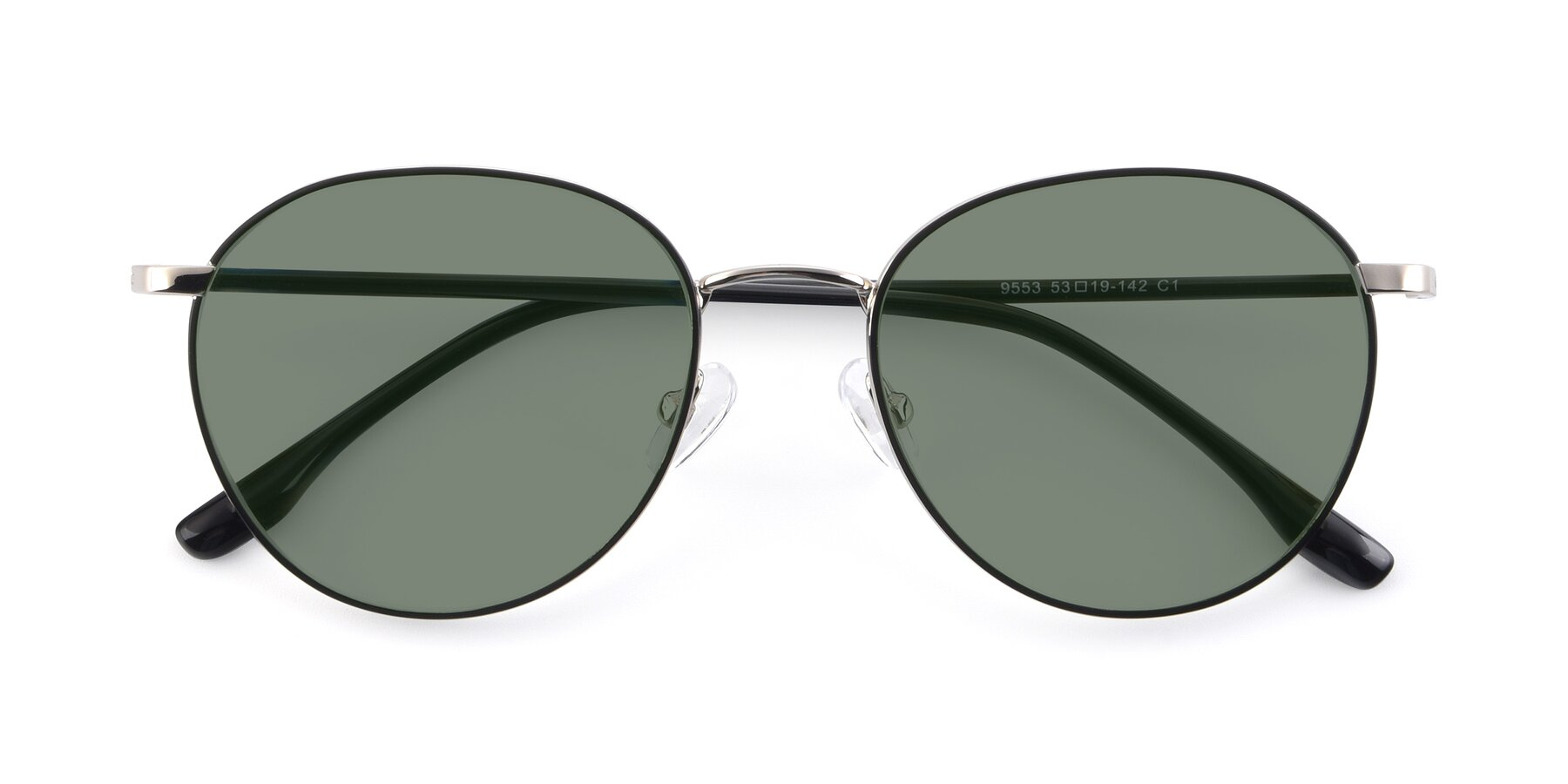 Folded Front of 9553 in Black-Silver with Medium Green Tinted Lenses