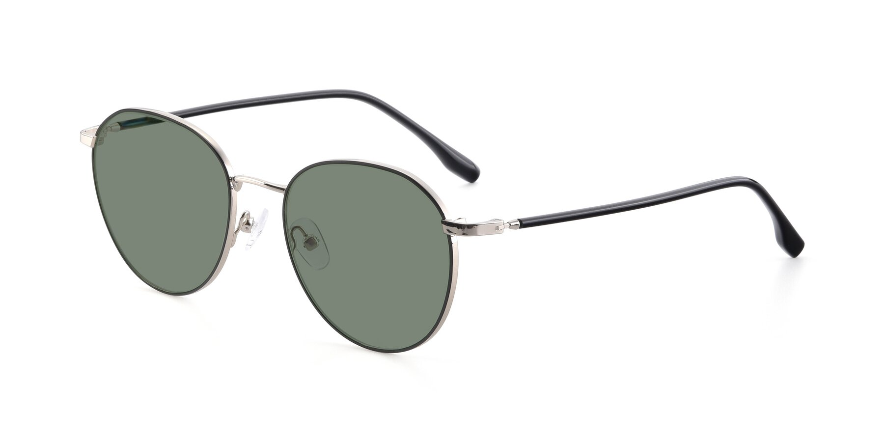 Angle of 9553 in Black-Silver with Medium Green Tinted Lenses