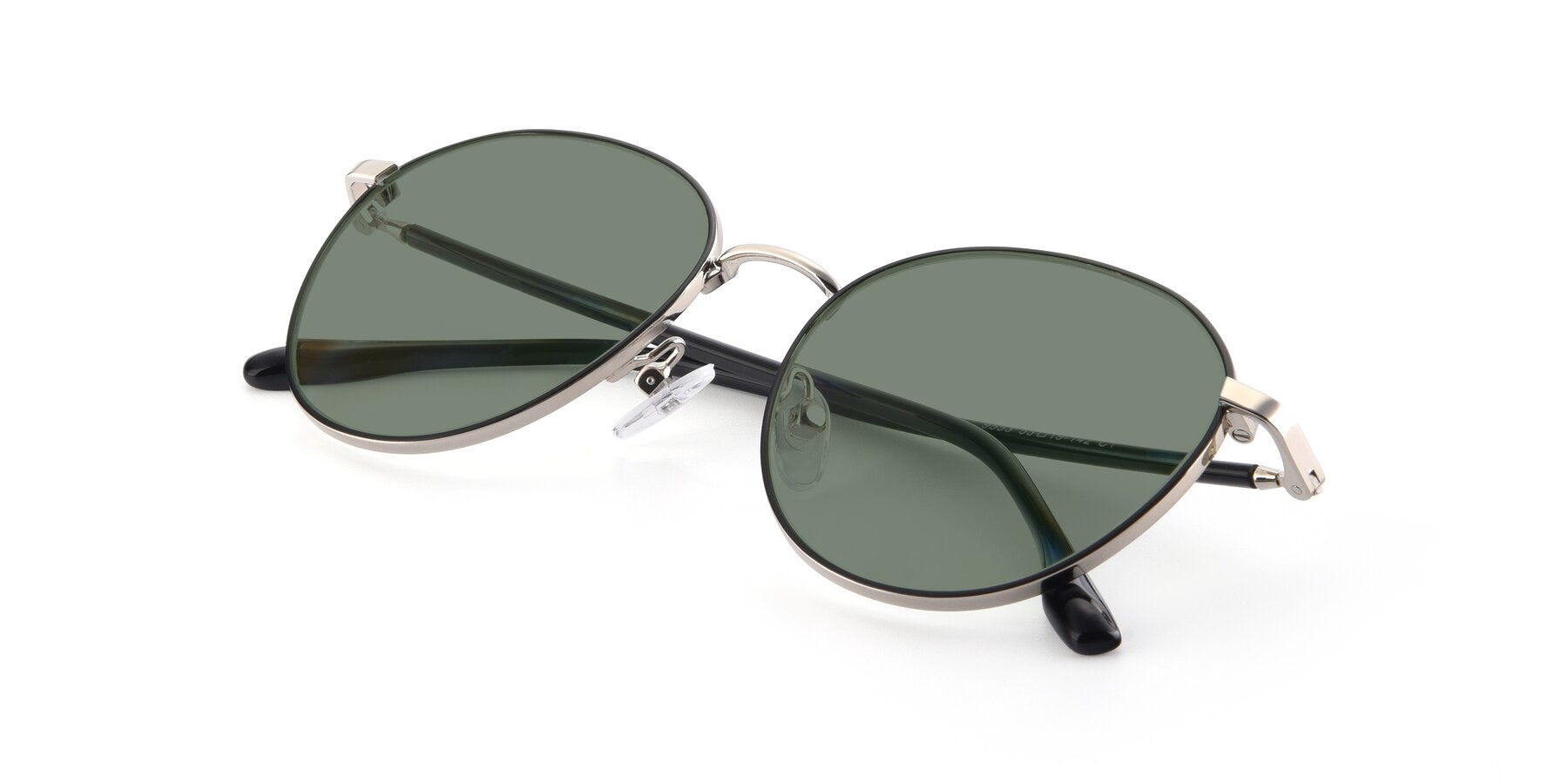 View of 9553 in Black-Silver with Medium Green Tinted Lenses