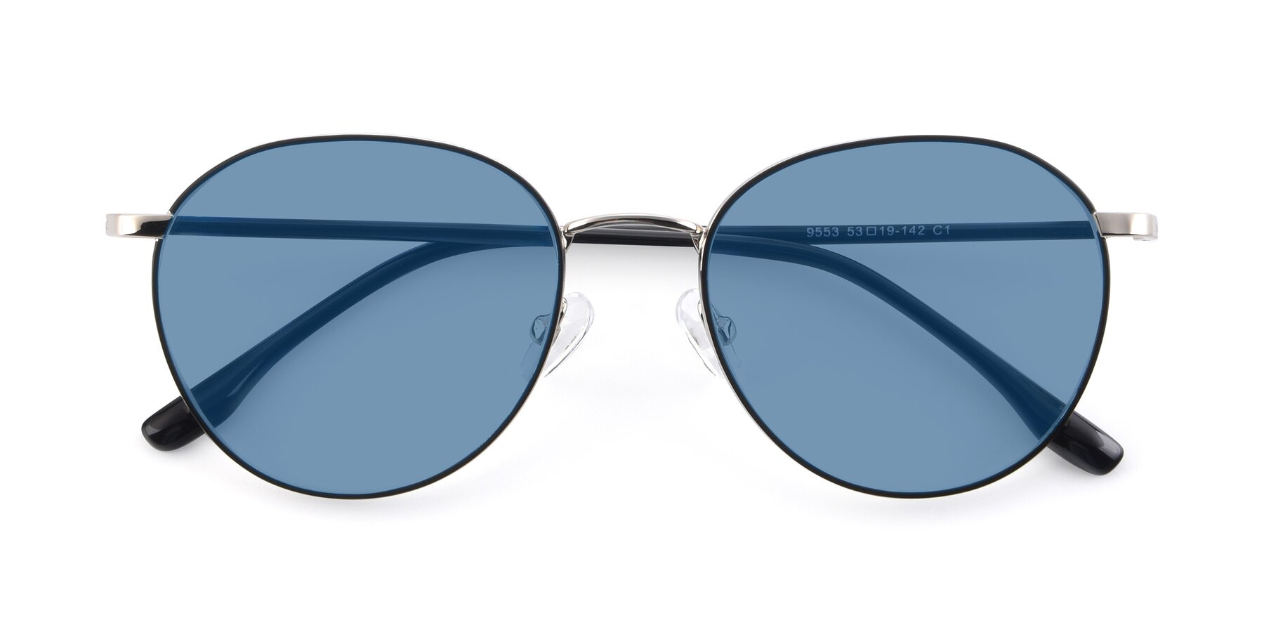Folded Front of 9553 in Black-Silver with Medium Blue Tinted Lenses