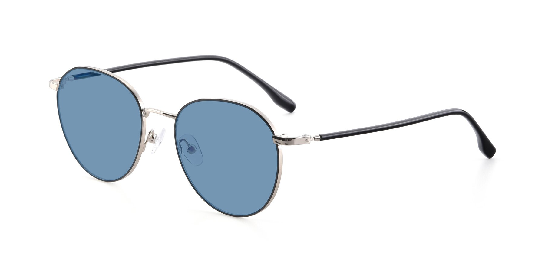 Angle of 9553 in Black-Silver with Medium Blue Tinted Lenses