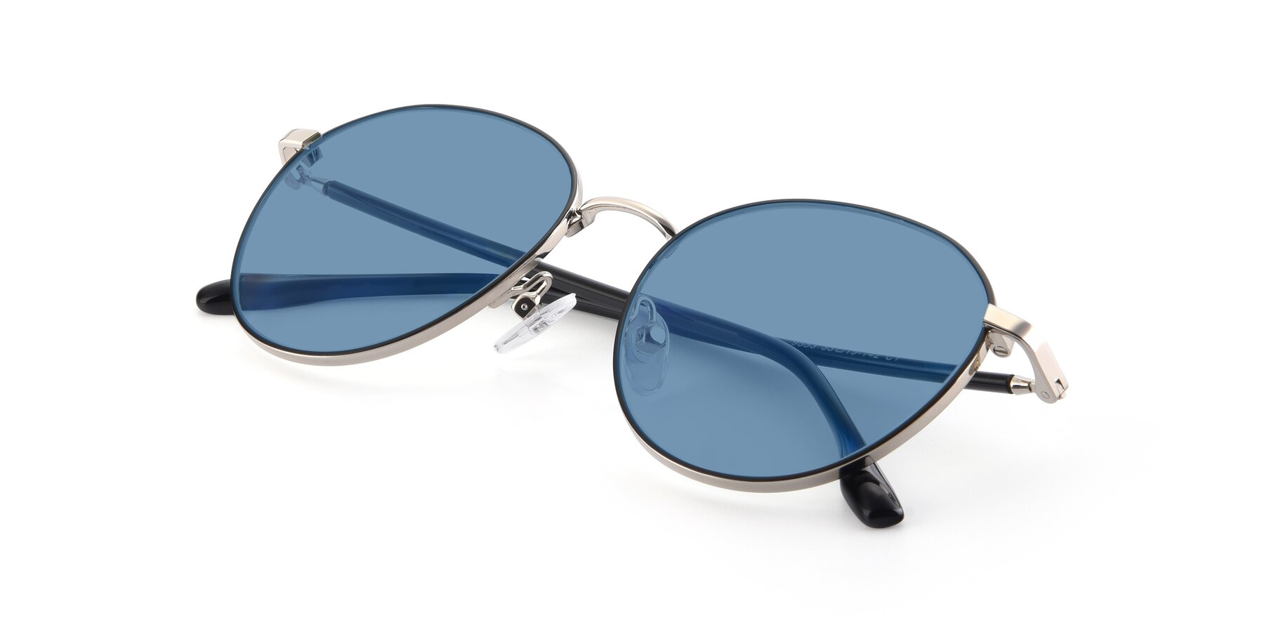 View of 9553 in Black-Silver with Medium Blue Tinted Lenses