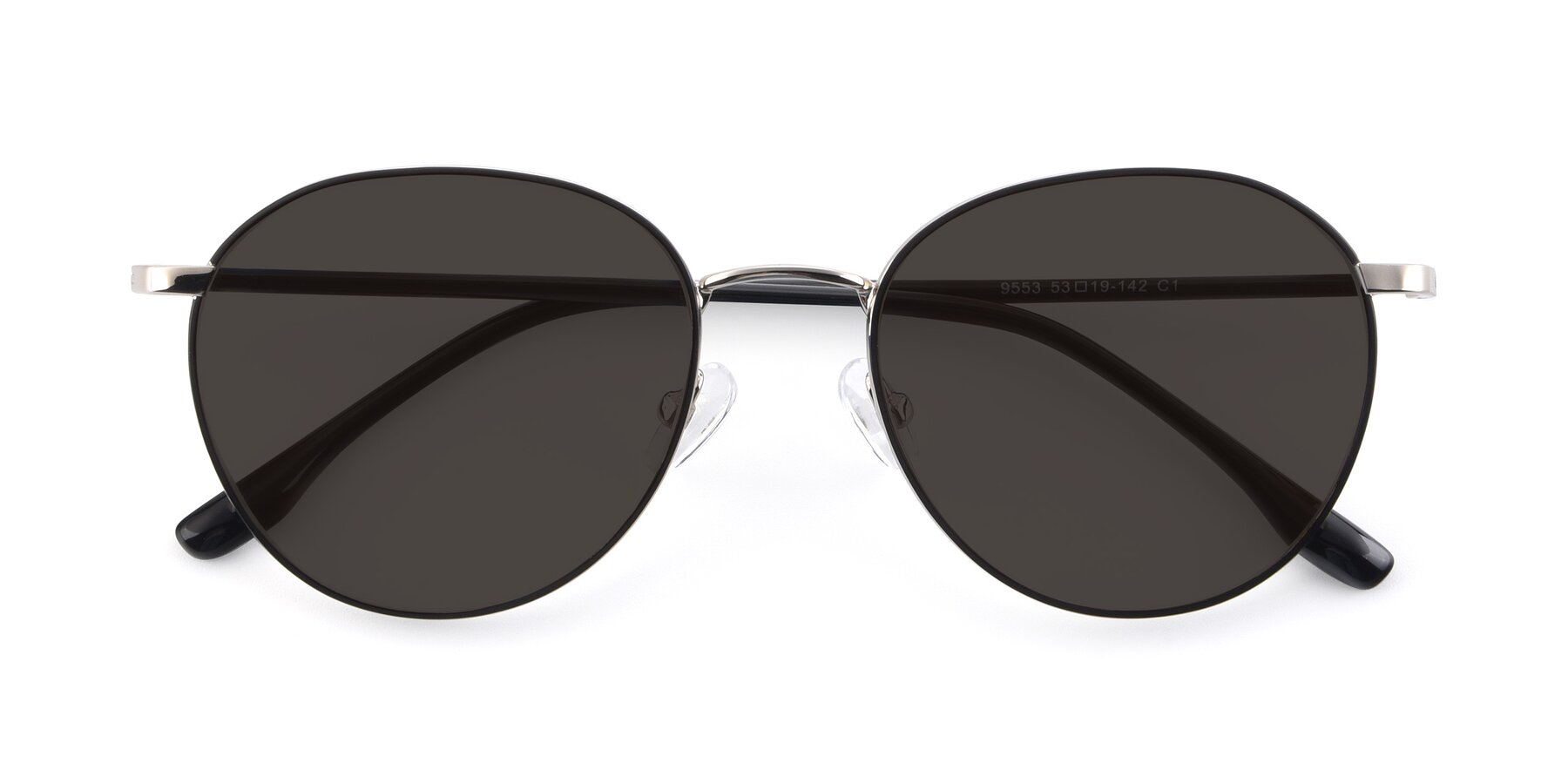 Folded Front of 9553 in Black-Silver with Gray Tinted Lenses