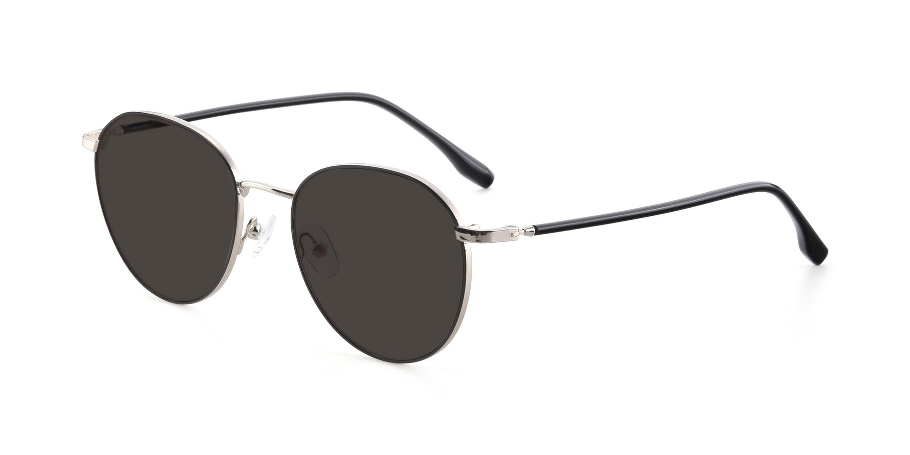 Angle of 9553 in Black-Silver with Gray Tinted Lenses