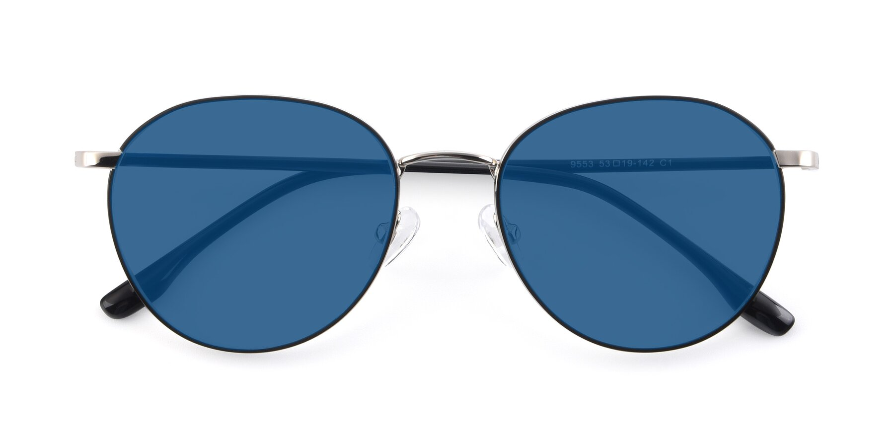 Folded Front of 9553 in Black-Silver with Blue Tinted Lenses