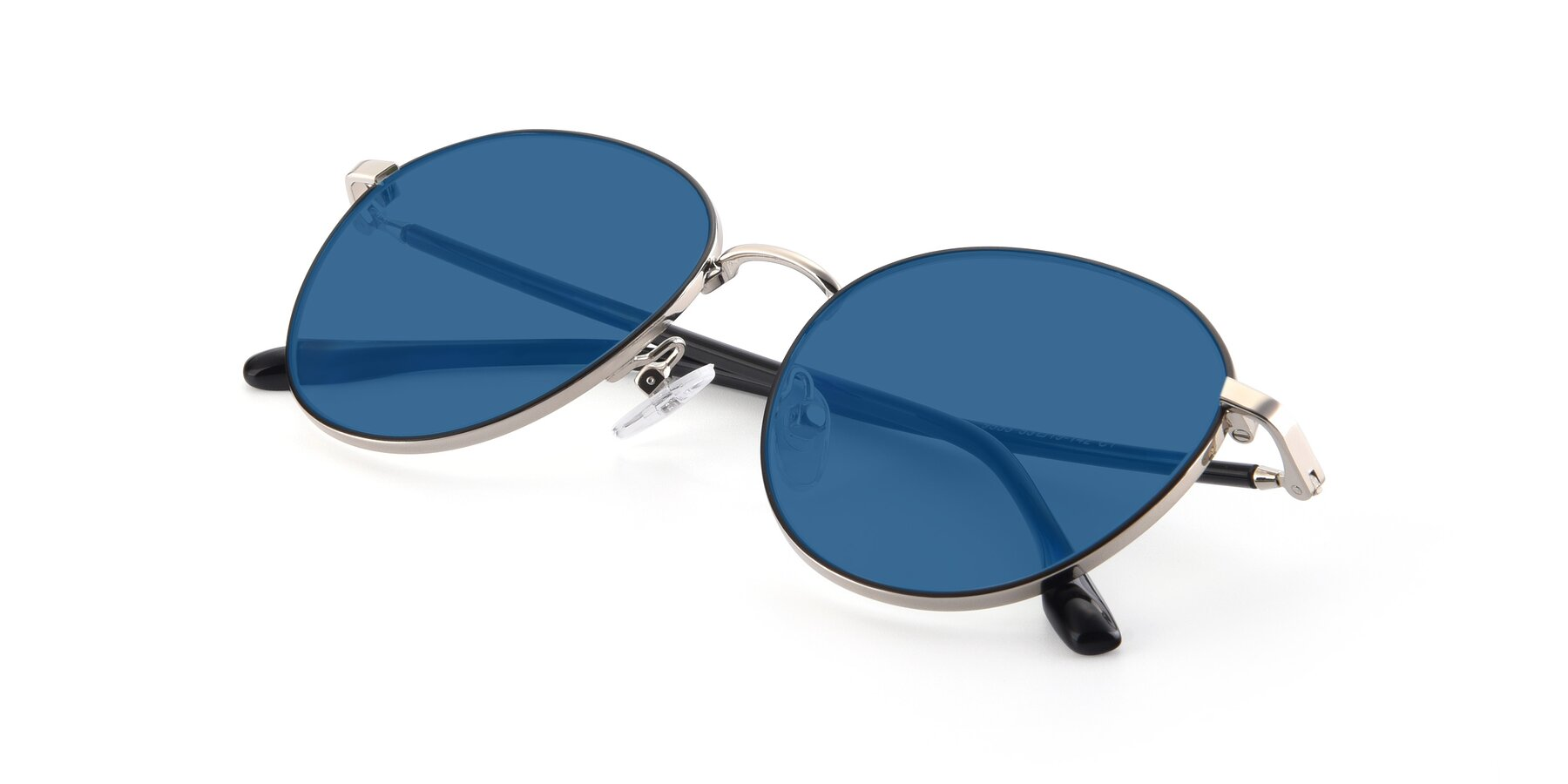 View of 9553 in Black-Silver with Blue Tinted Lenses