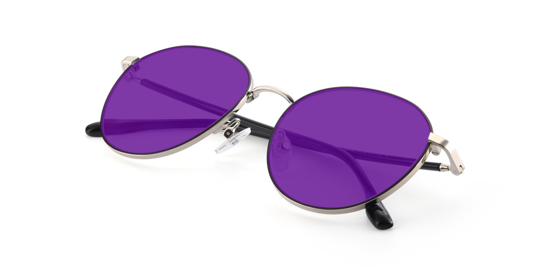 View of 9553 in Black-Silver with Purple Tinted Lenses