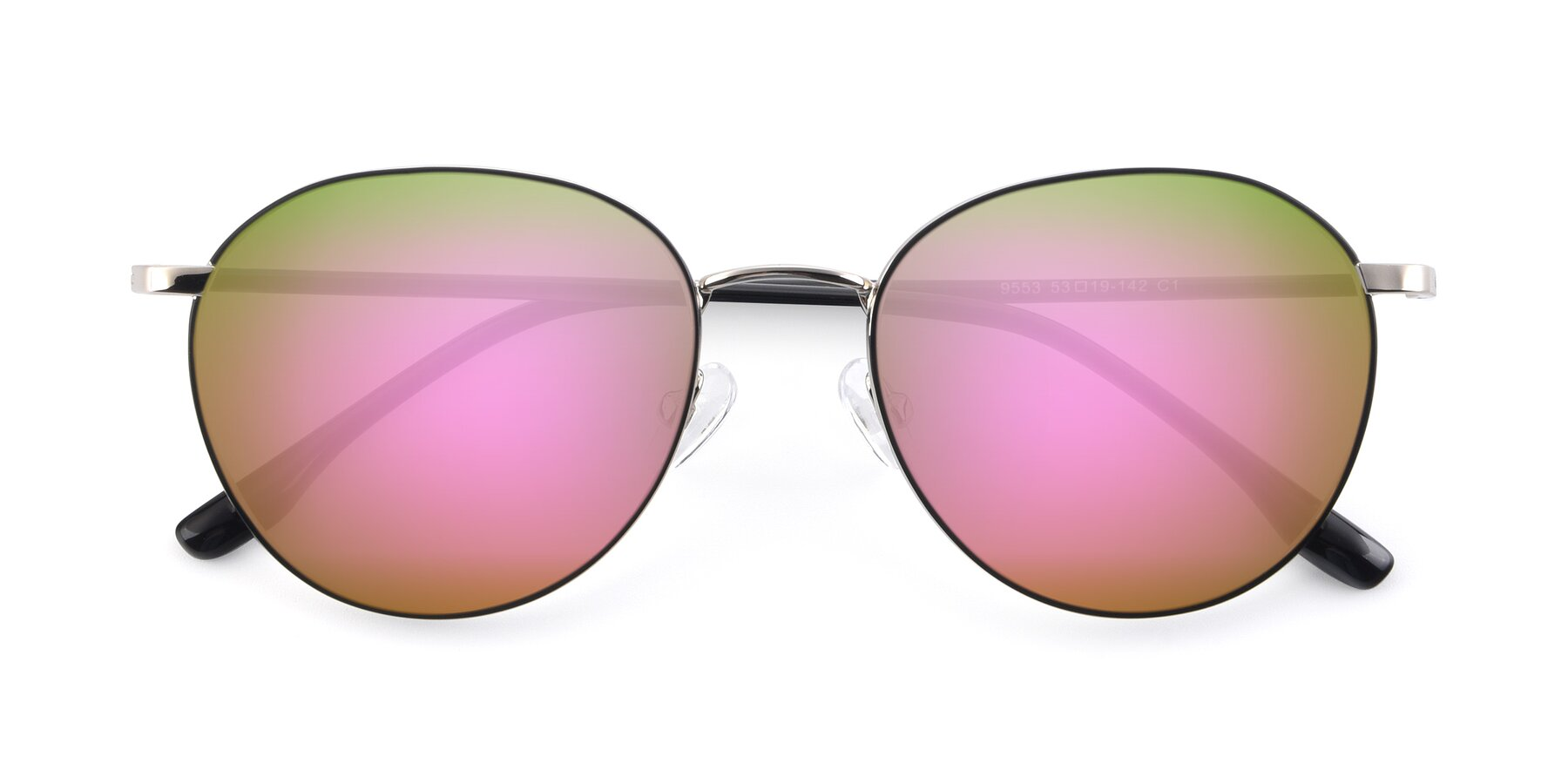 Folded Front of 9553 in Black-Silver with Pink Mirrored Lenses