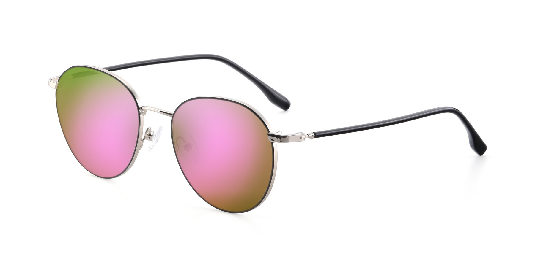 Angle of 9553 in Black-Silver with Pink Mirrored Lenses