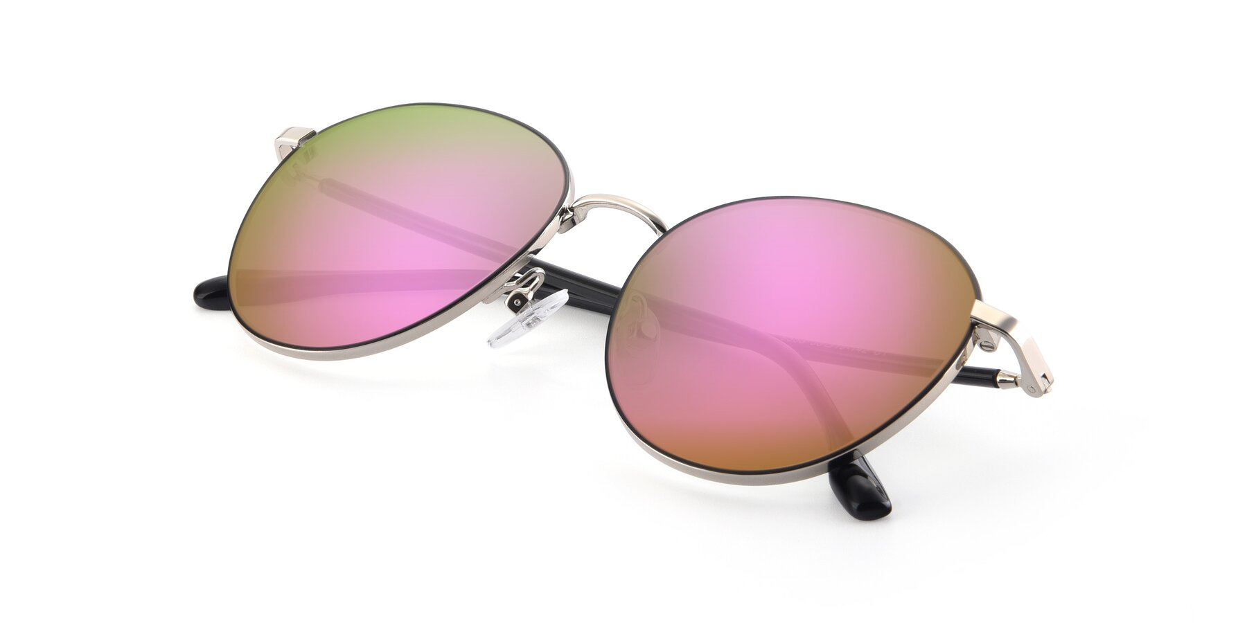 View of 9553 in Black-Silver with Pink Mirrored Lenses