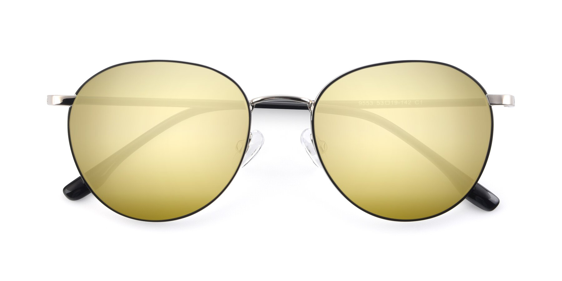 Folded Front of 9553 in Black-Silver with Gold Mirrored Lenses