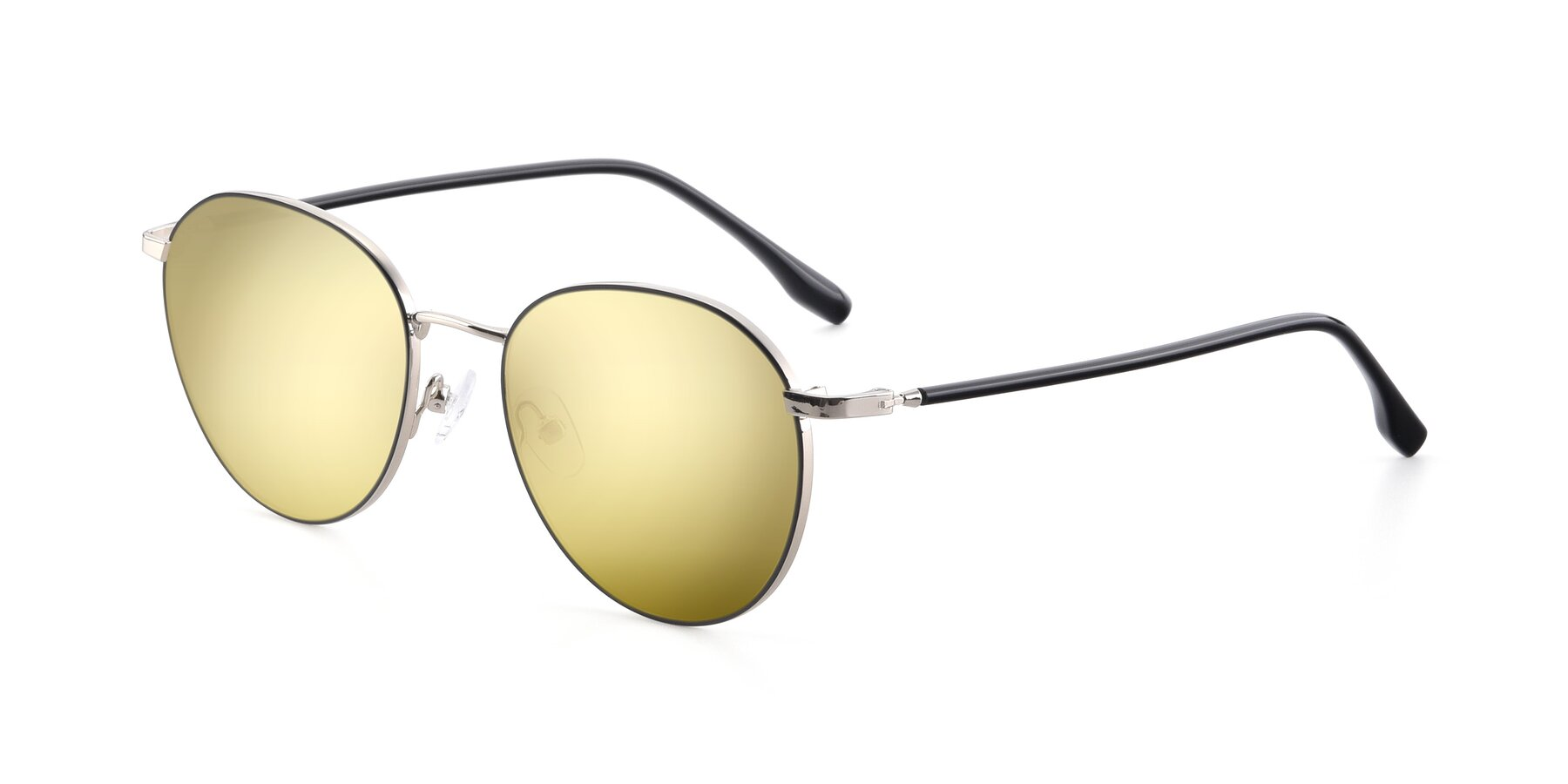 Angle of 9553 in Black-Silver with Gold Mirrored Lenses