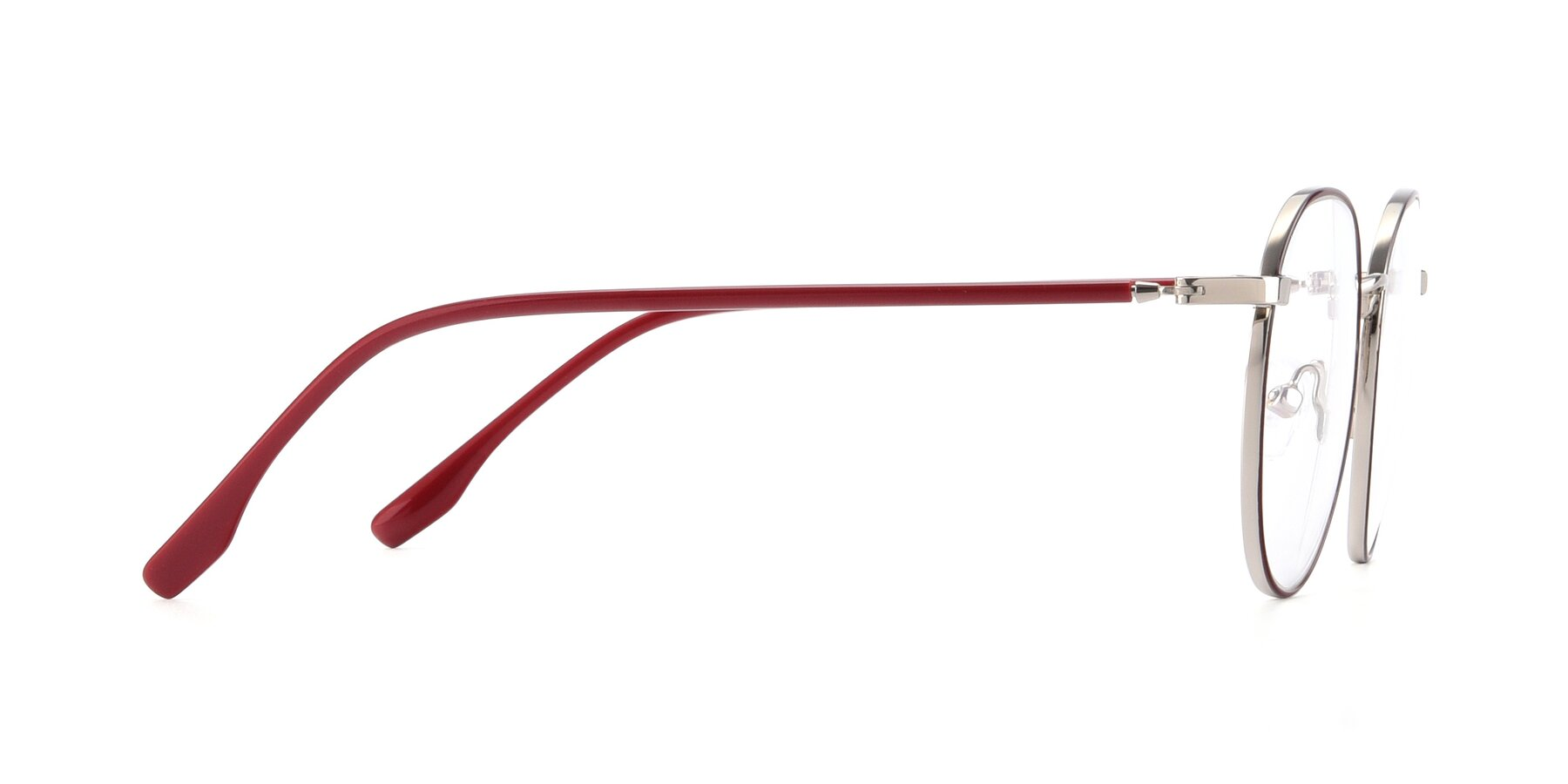 Side of 9553 in Wine-Silver with Clear Blue Light Blocking Lenses