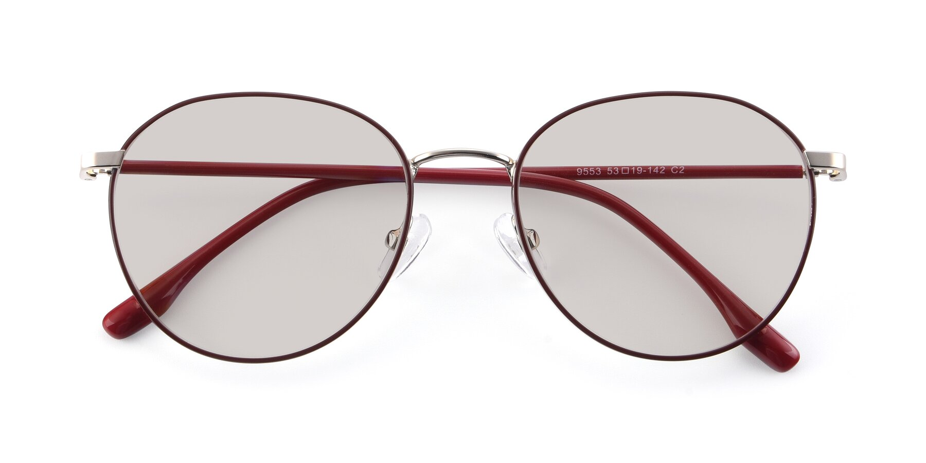 Folded Front of 9553 in Wine-Silver with Light Brown Tinted Lenses