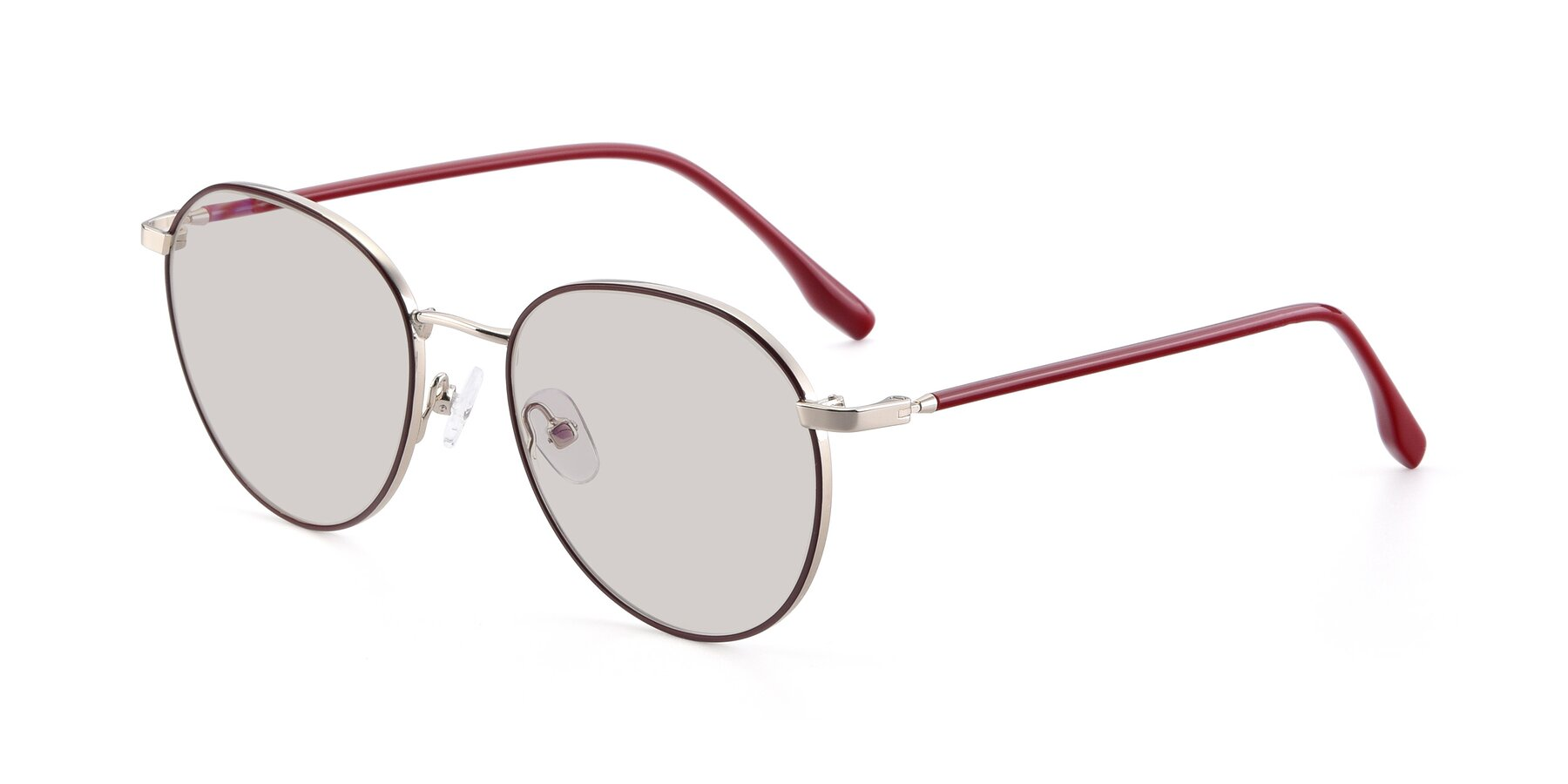 Angle of 9553 in Wine-Silver with Light Brown Tinted Lenses