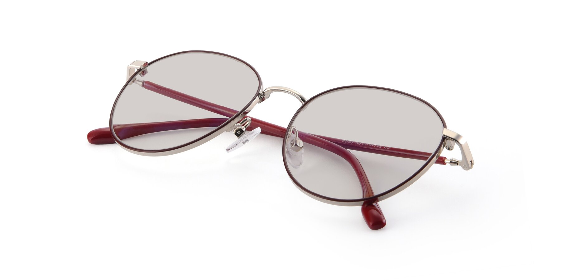 View of 9553 in Wine-Silver with Light Brown Tinted Lenses