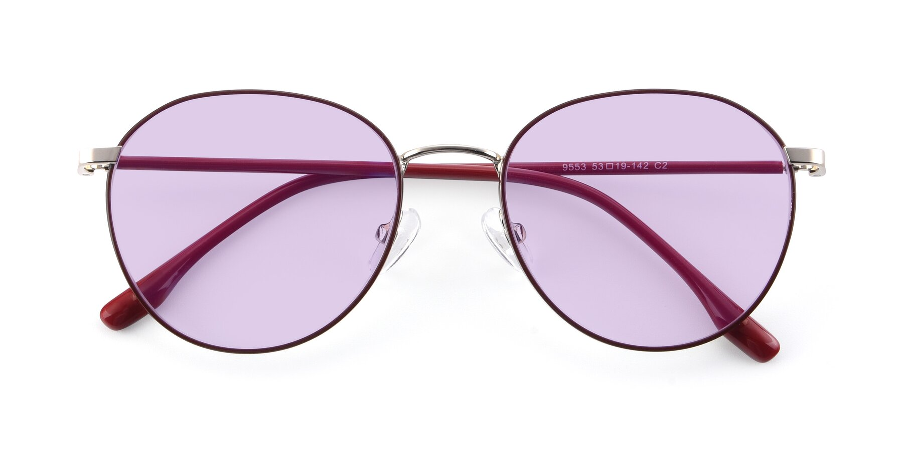 Folded Front of 9553 in Wine-Silver with Light Purple Tinted Lenses