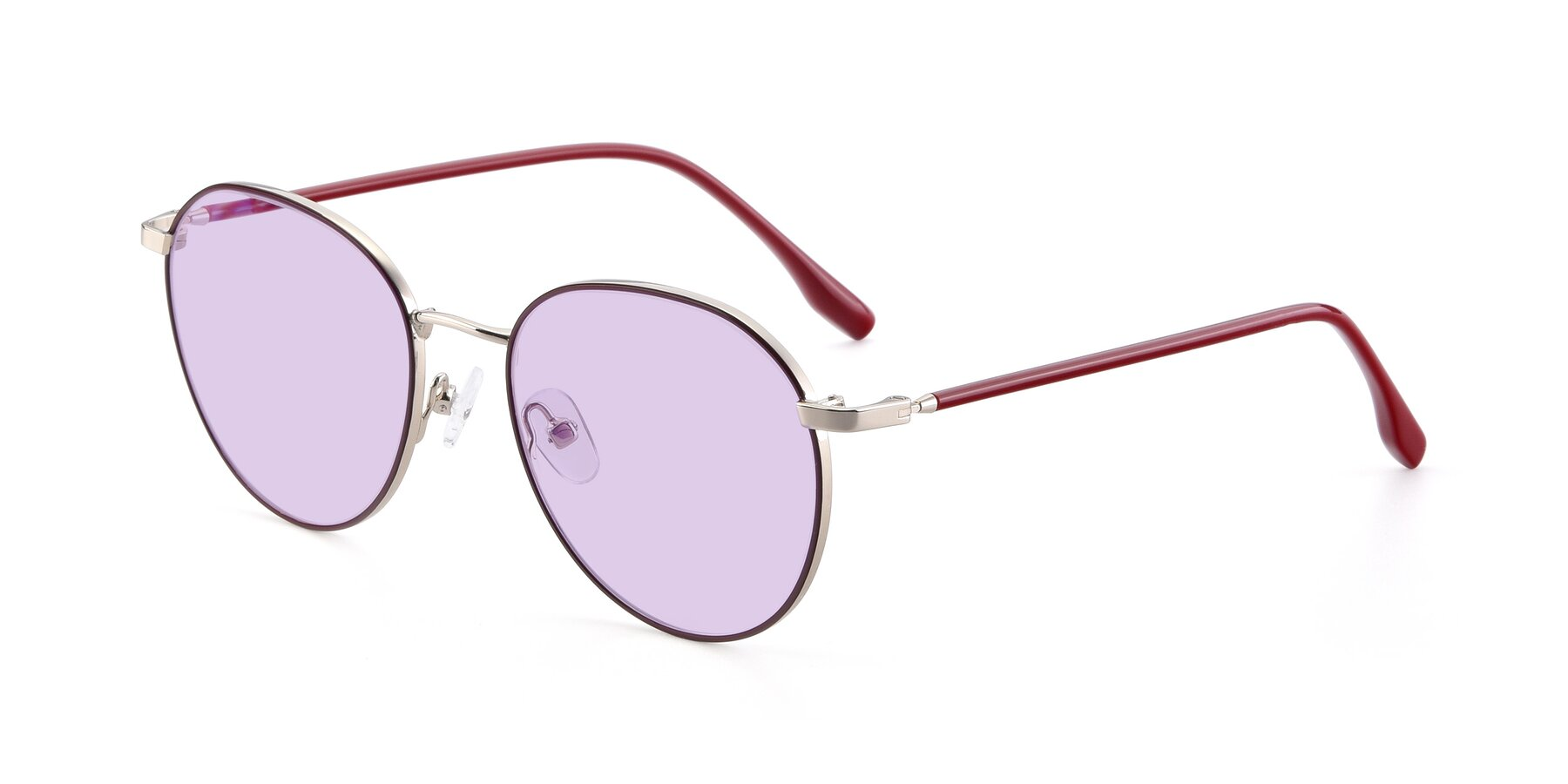 Angle of 9553 in Wine-Silver with Light Purple Tinted Lenses