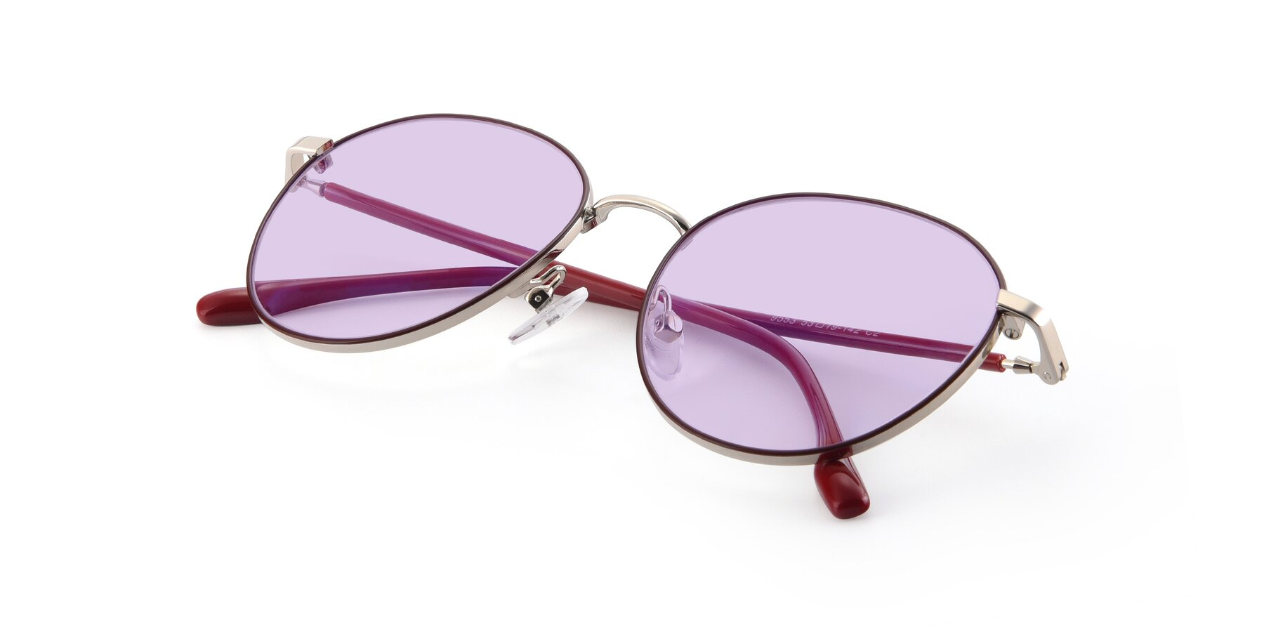 View of 9553 in Wine-Silver with Light Purple Tinted Lenses