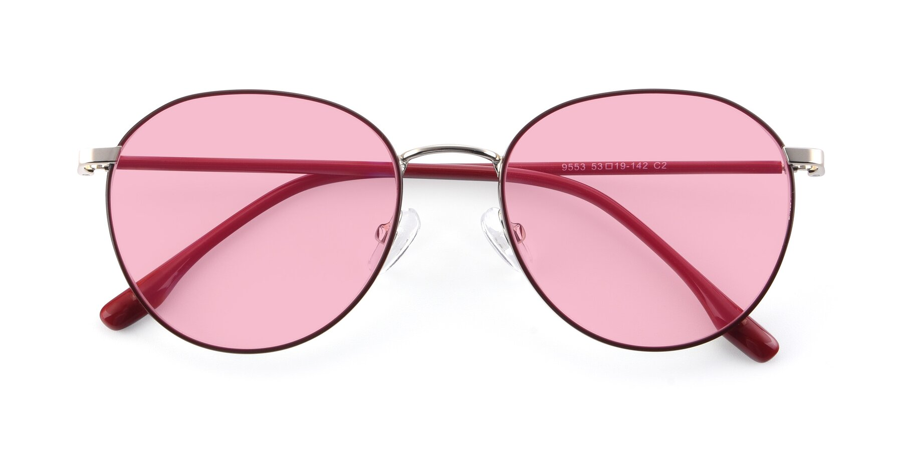 Folded Front of 9553 in Wine-Silver with Medium Pink Tinted Lenses