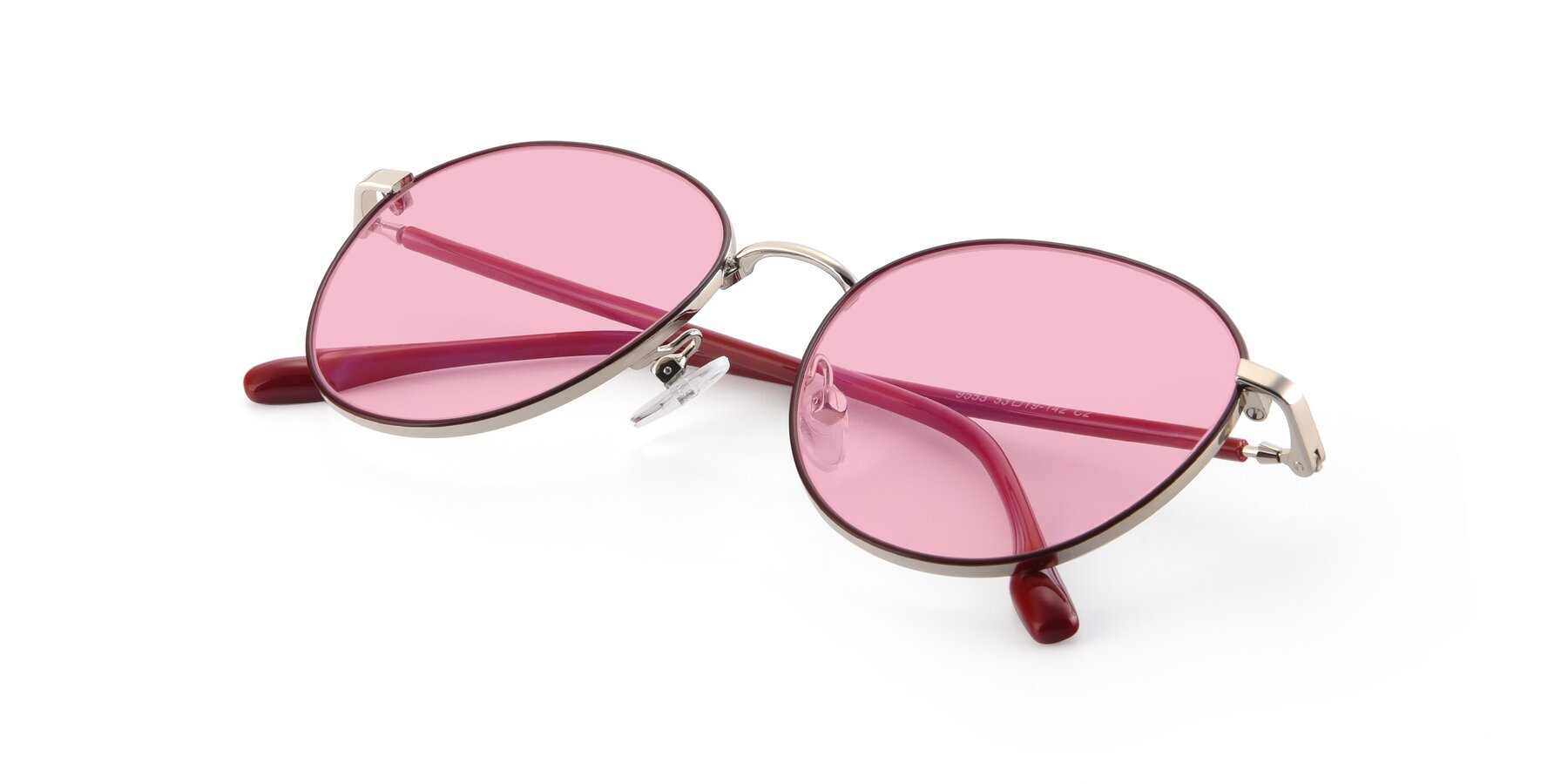 View of 9553 in Wine-Silver with Medium Pink Tinted Lenses