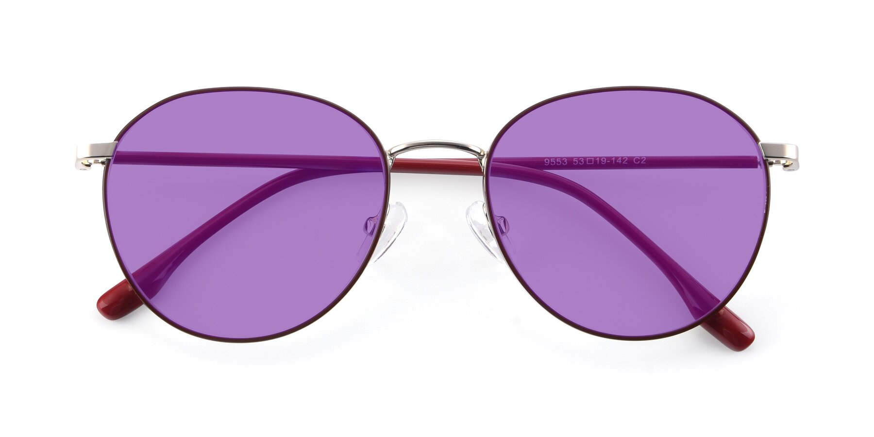 Folded Front of 9553 in Wine-Silver with Medium Purple Tinted Lenses