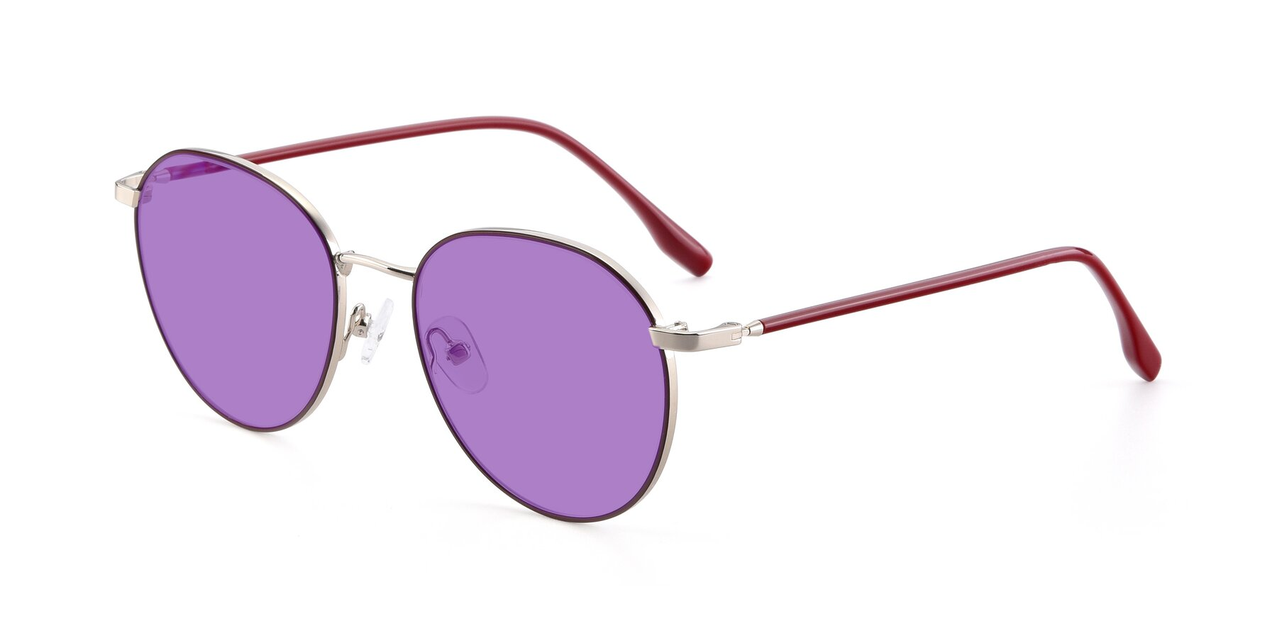 Angle of 9553 in Wine-Silver with Medium Purple Tinted Lenses