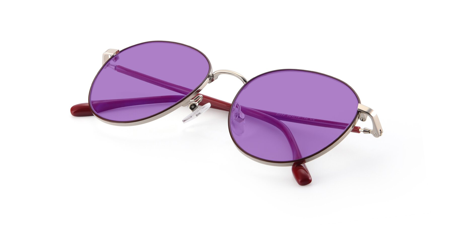 View of 9553 in Wine-Silver with Medium Purple Tinted Lenses