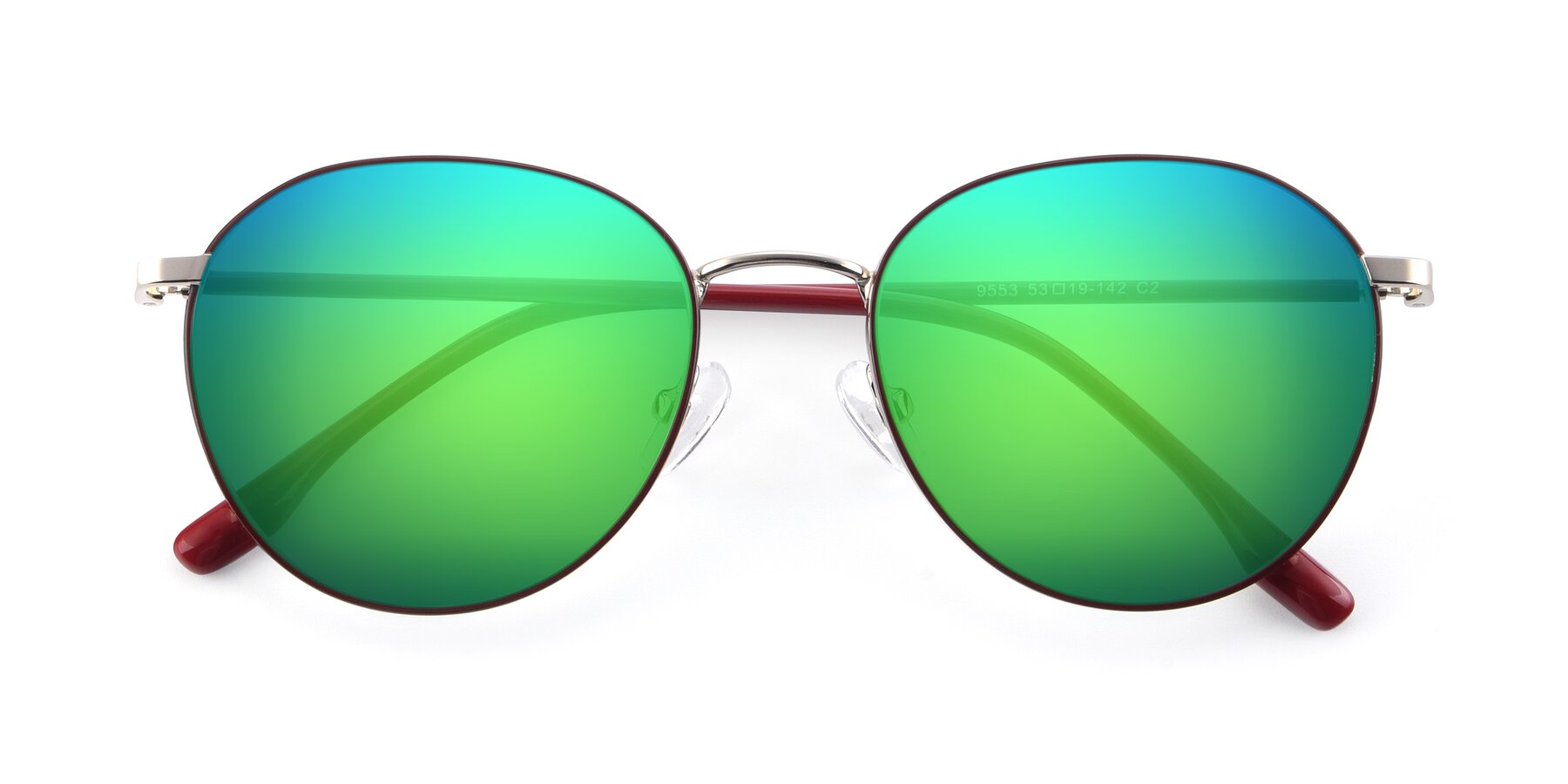 Folded Front of 9553 in Wine-Silver with Green Mirrored Lenses