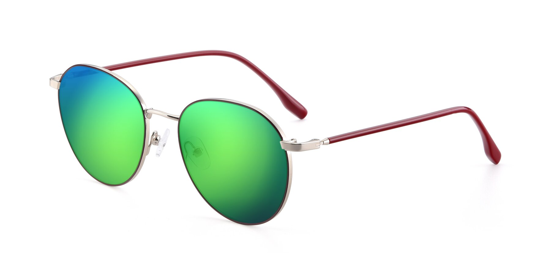 Angle of 9553 in Wine-Silver with Green Mirrored Lenses