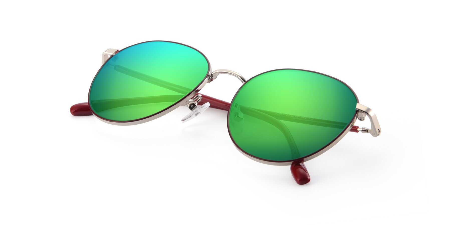 View of 9553 in Wine-Silver with Green Mirrored Lenses