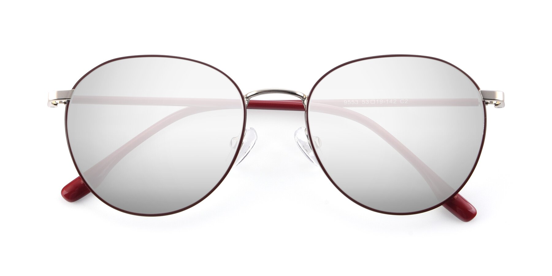 Folded Front of 9553 in Wine-Silver with Silver Mirrored Lenses