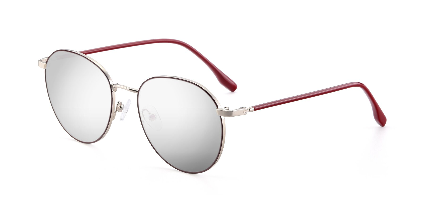 Angle of 9553 in Wine-Silver with Silver Mirrored Lenses