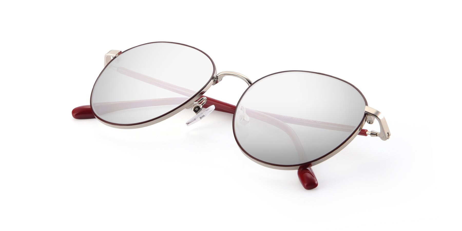 View of 9553 in Wine-Silver with Silver Mirrored Lenses