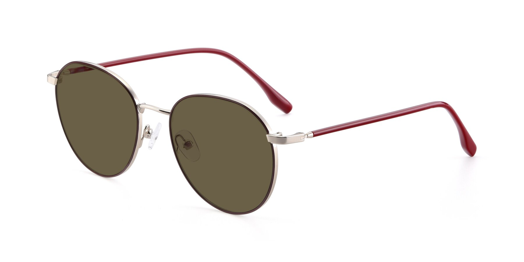 Angle of 9553 in Wine-Silver with Brown Polarized Lenses