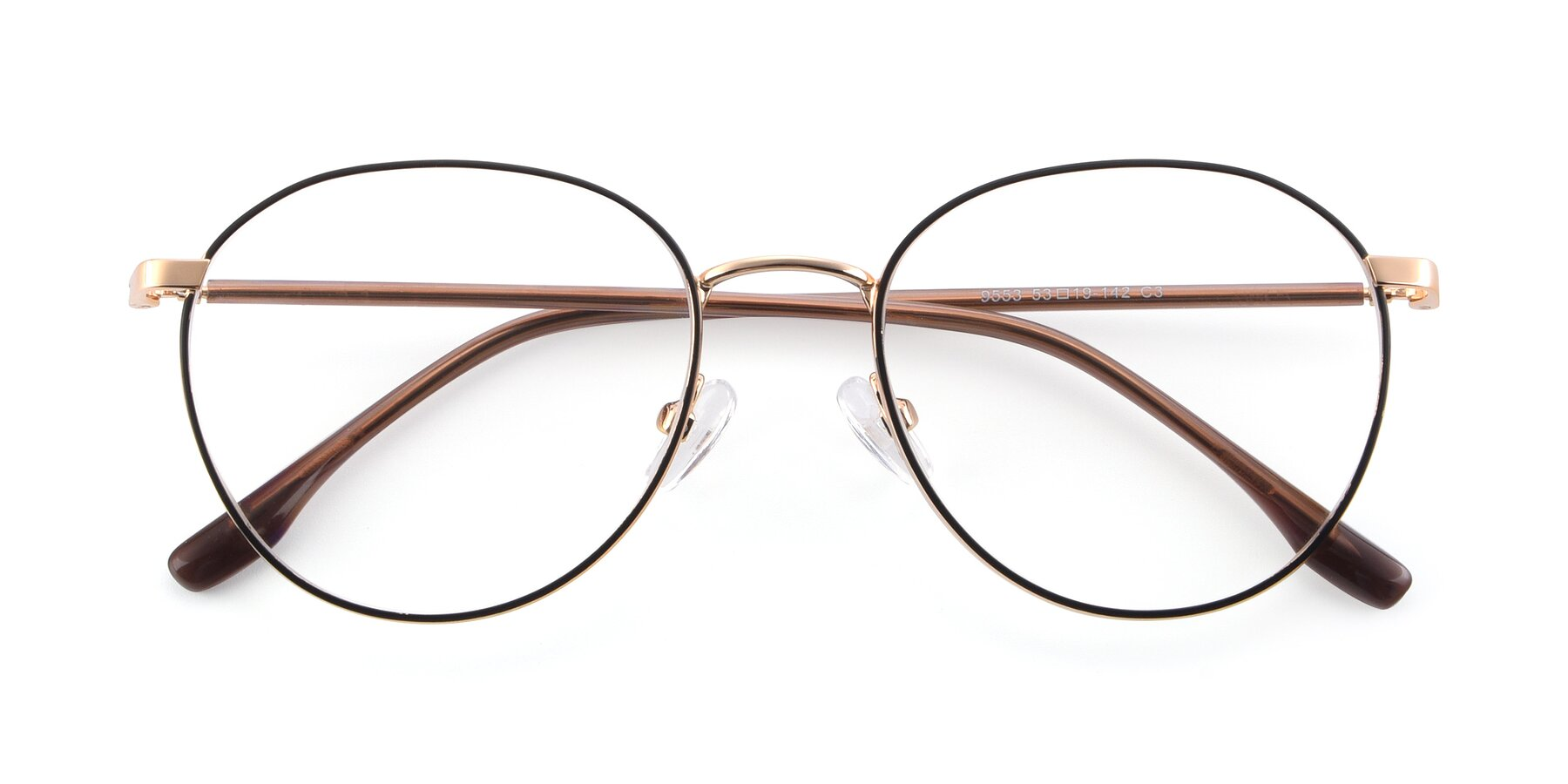 Folded Front of 9553 in Black-Gold with Clear Blue Light Blocking Lenses