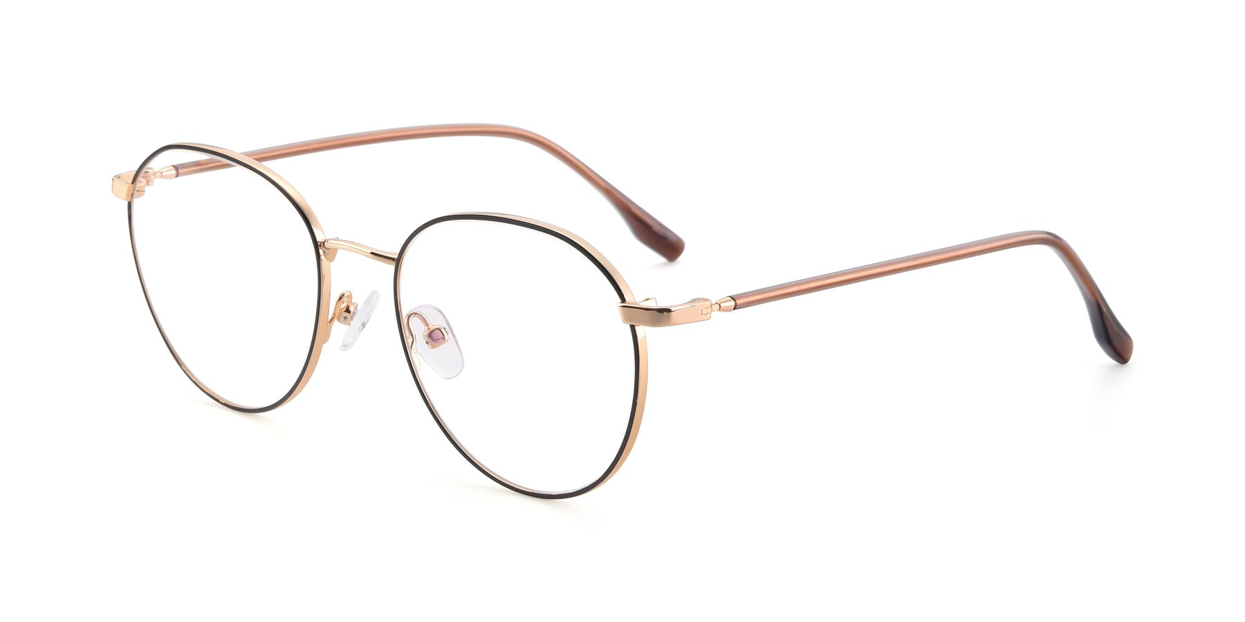 Angle of 9553 in Black-Gold with Clear Blue Light Blocking Lenses