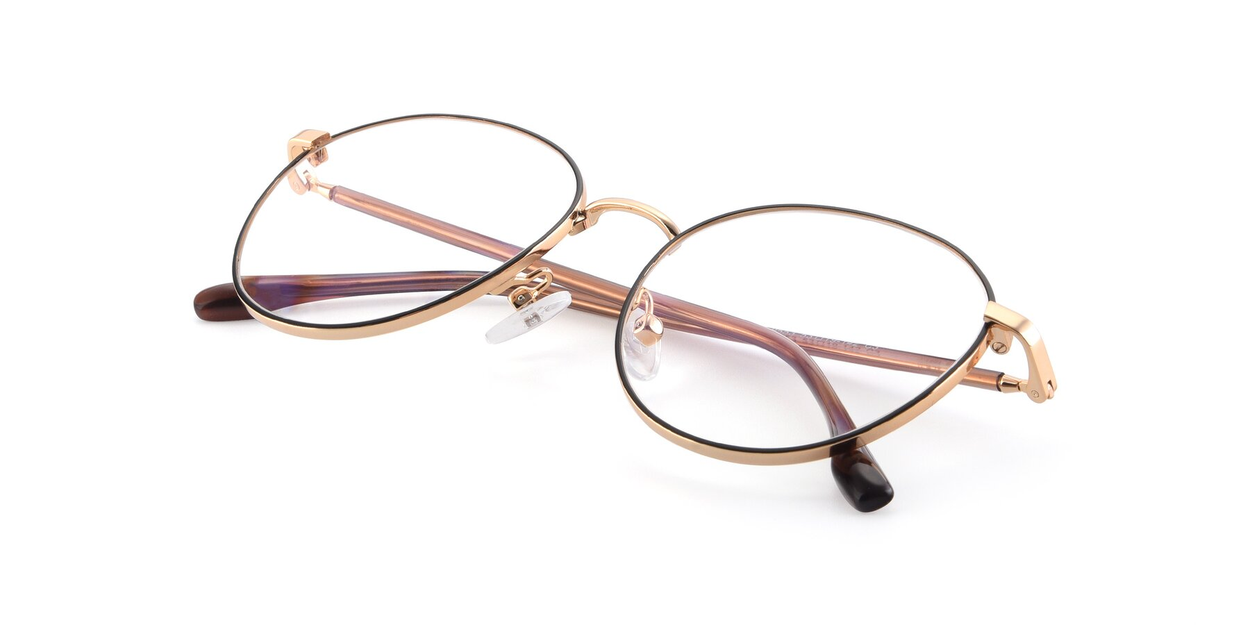 View of 9553 in Black-Gold with Clear Blue Light Blocking Lenses