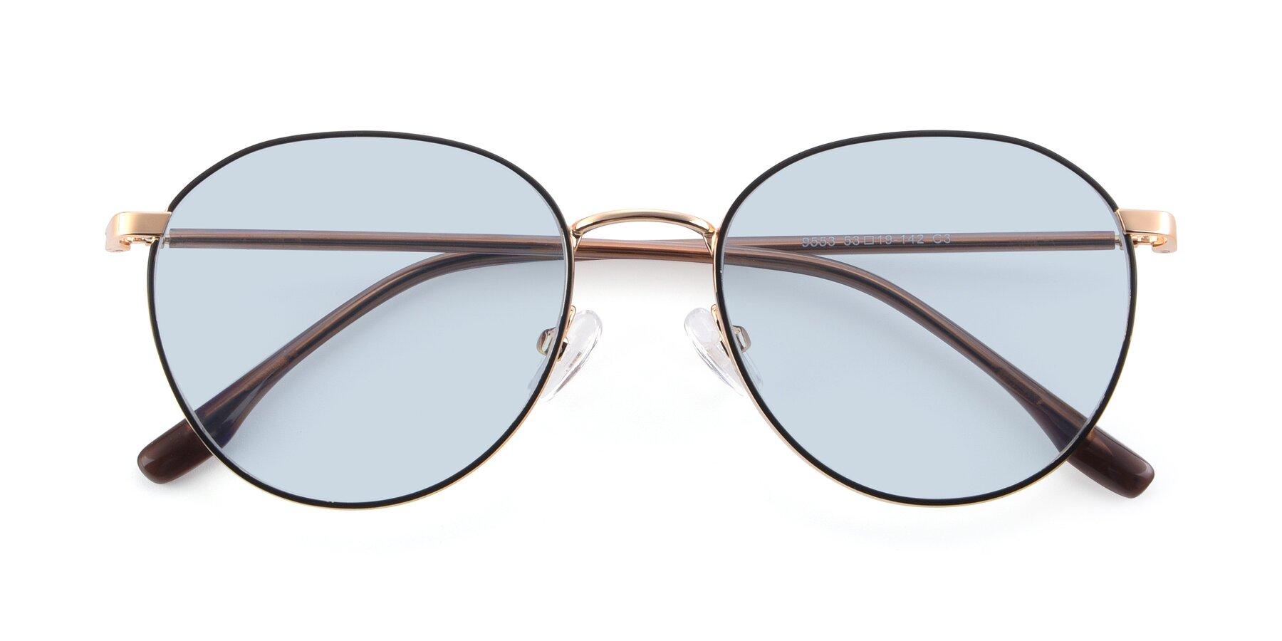Folded Front of 9553 in Black-Gold with Light Blue Tinted Lenses