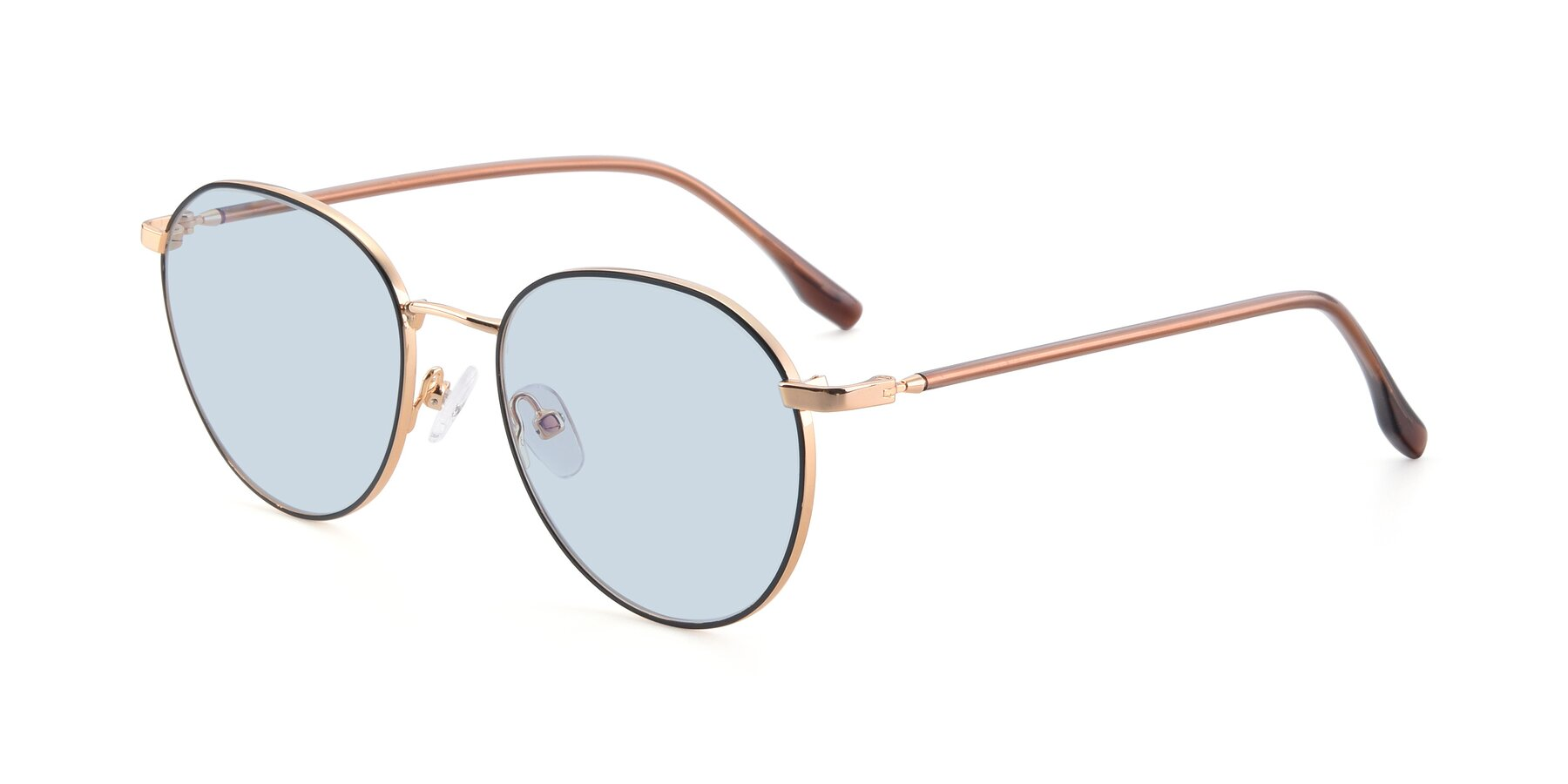 Angle of 9553 in Black-Gold with Light Blue Tinted Lenses