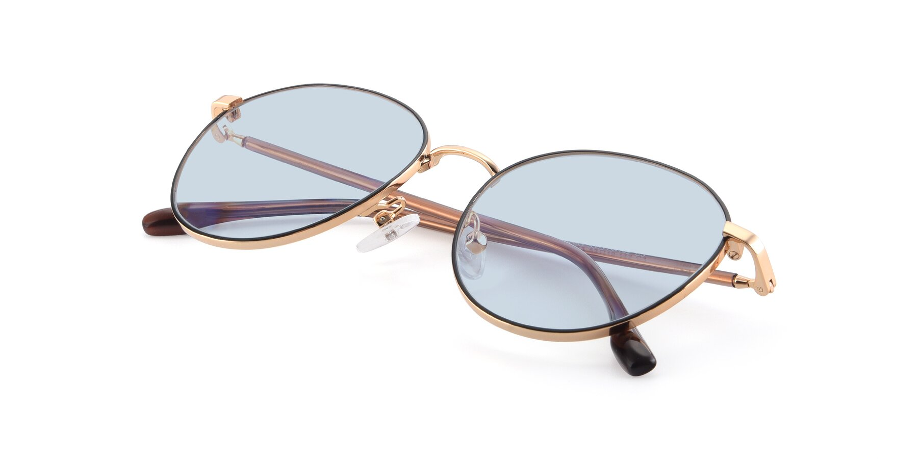 View of 9553 in Black-Gold with Light Blue Tinted Lenses
