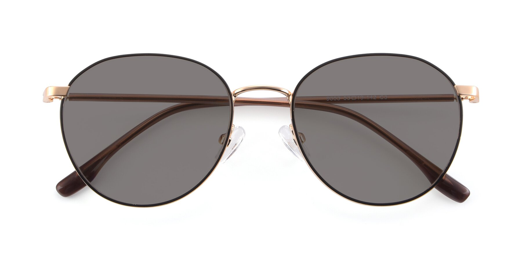 Folded Front of 9553 in Black-Gold with Medium Gray Tinted Lenses