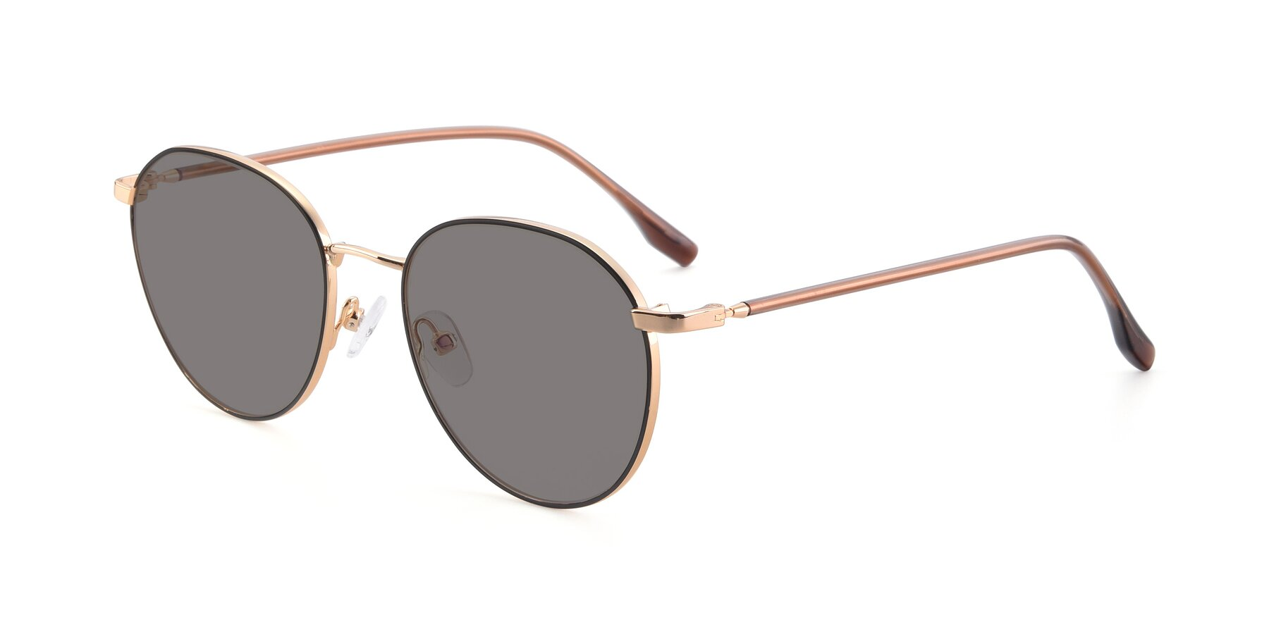 Angle of 9553 in Black-Gold with Medium Gray Tinted Lenses