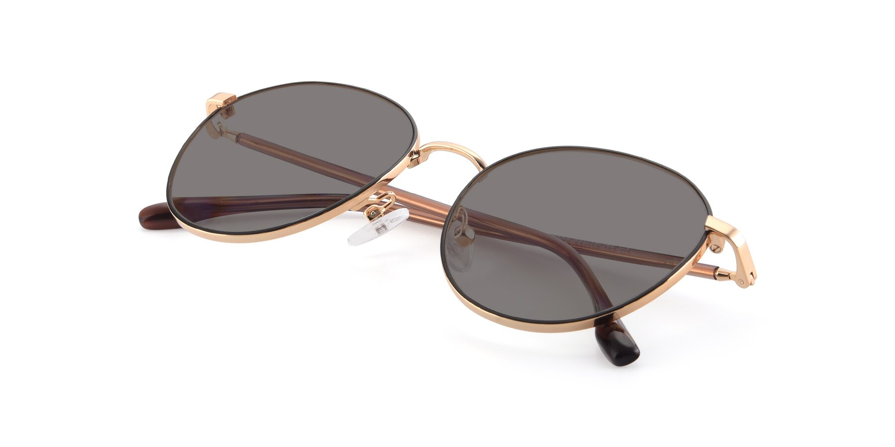View of 9553 in Black-Gold with Medium Gray Tinted Lenses